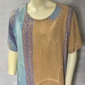 Vtg LAS MANOS Blue Gray Tan Batik Tunic Shirt